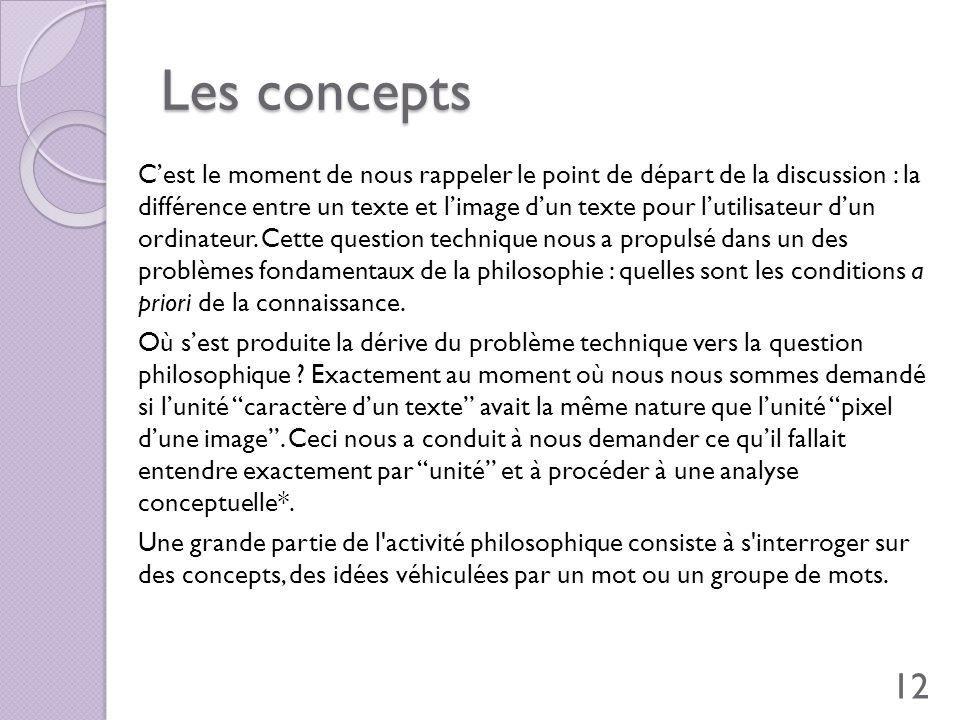 Les concepts Cest le moment de nous rappeler le point de départ de la discussion : la différence entre un texte et limage dun texte pour lutilisateur