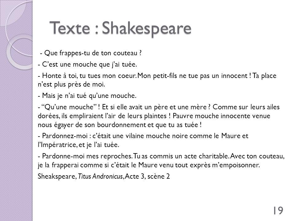 Texte : Shakespeare - Que frappes-tu de ton couteau ? - Cest une mouche que jai tuée. - Honte à toi, tu tues mon coeur. Mon petit-fils ne tue pas un i