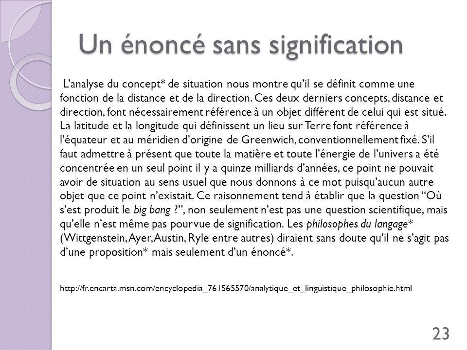 Un énoncé sans signification Lanalyse du concept* de situation nous montre quil se définit comme une fonction de la distance et de la direction. Ces d