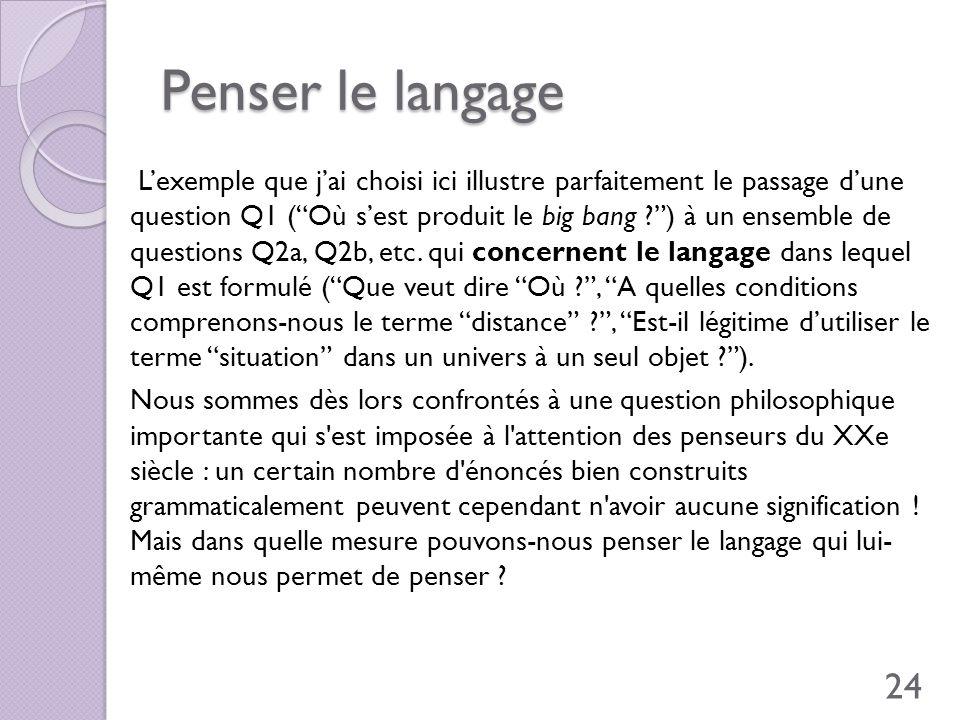 Penser le langage Lexemple que jai choisi ici illustre parfaitement le passage dune question Q1 (Où sest produit le big bang ?) à un ensemble de quest