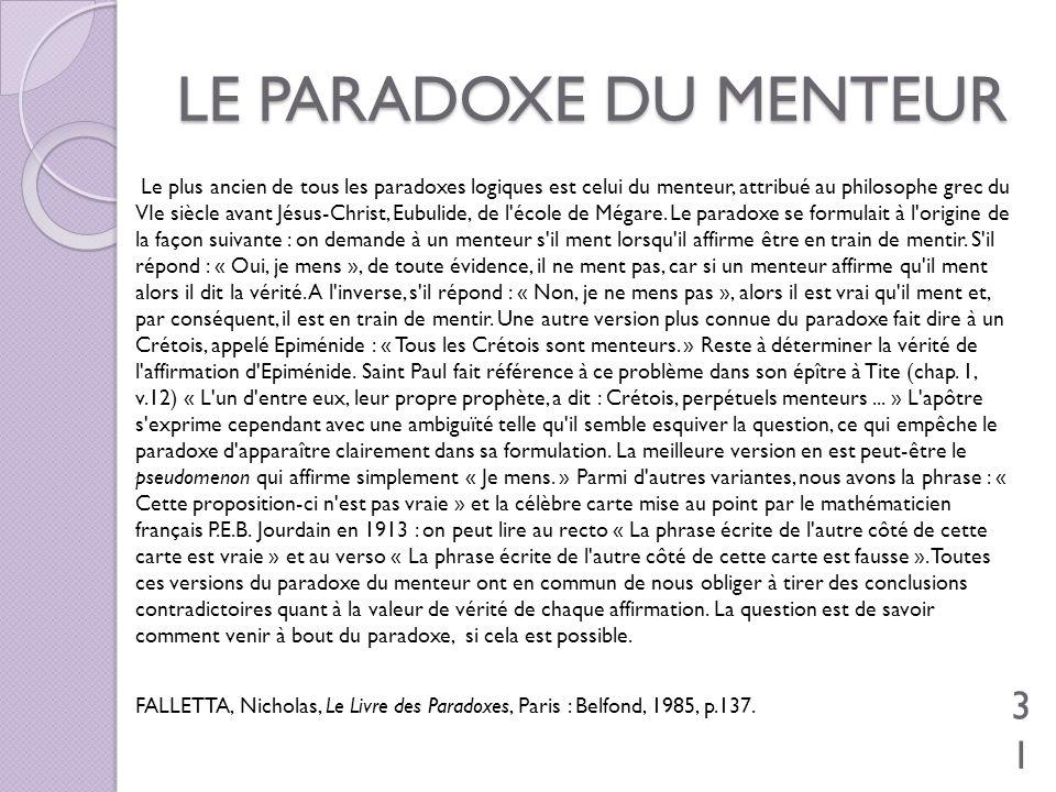 LE PARADOXE DU MENTEUR Le plus ancien de tous les paradoxes logiques est celui du menteur, attribué au philosophe grec du VIe siècle avant Jésus-Chris