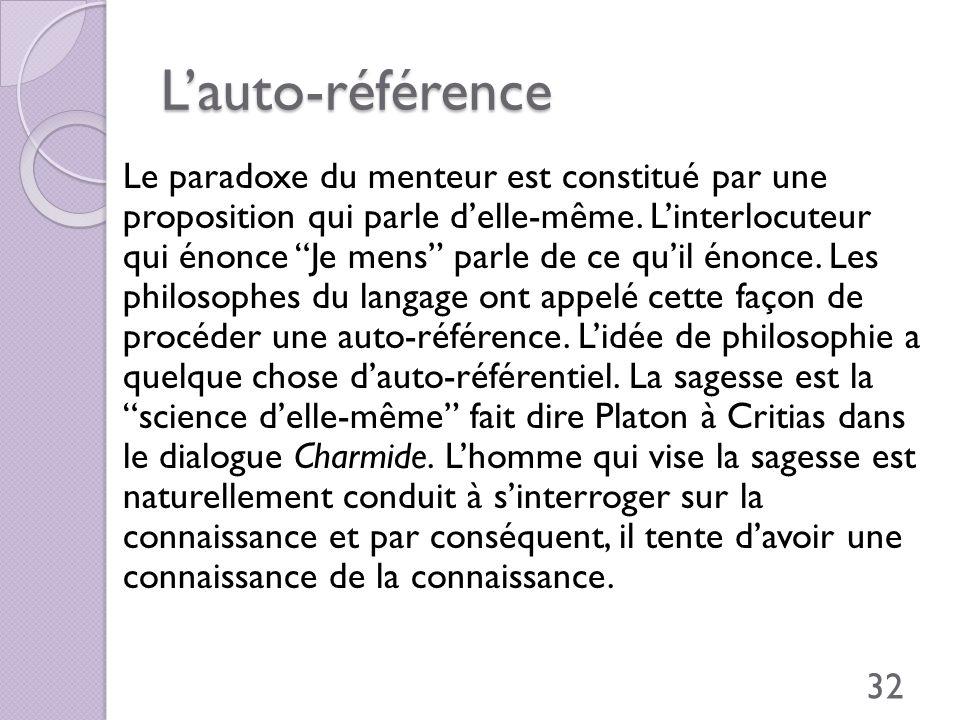 Lauto-référence Le paradoxe du menteur est constitué par une proposition qui parle delle-même. Linterlocuteur qui énonce Je mens parle de ce quil énon