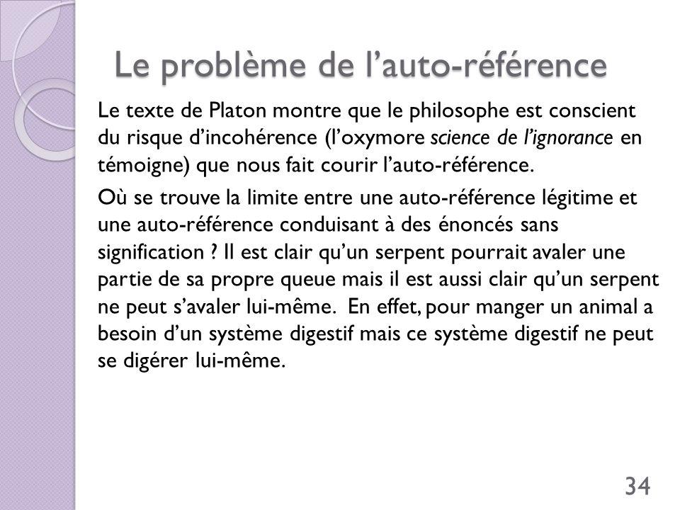 Le problème de lauto-référence Le texte de Platon montre que le philosophe est conscient du risque dincohérence (loxymore science de lignorance en tém