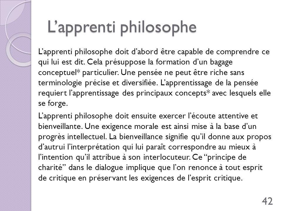 Lapprenti philosophe Lapprenti philosophe doit dabord être capable de comprendre ce qui lui est dit. Cela présuppose la formation dun bagage conceptue