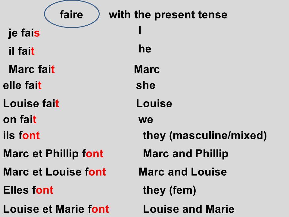 faire on fait je fais il fait Marc fait elle fait Louise fait with the present tense ils font Marc et Phillip font Marc et Louise font Elles font Loui