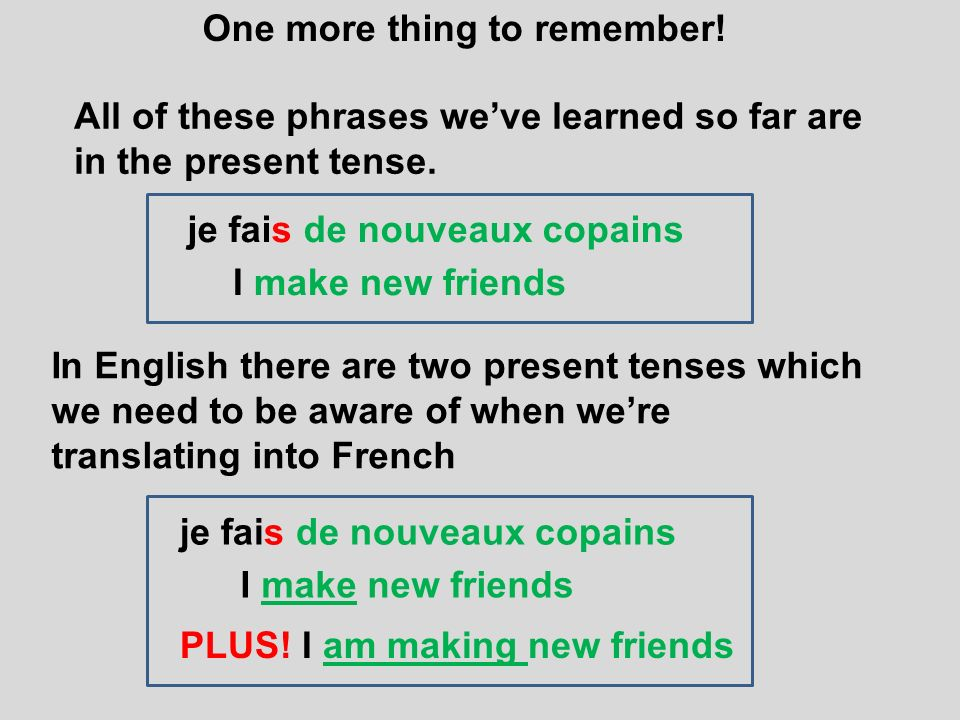 One more thing to remember! All of these phrases weve learned so far are in the present tense. je fais de nouveaux copains I make new friends In Engli