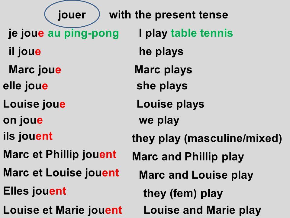 jouer on joue je joue au ping-pong il joue Marc joue elle joue Louise joue with the present tense ils jouent Marc et Phillip jouent Marc et Louise jou