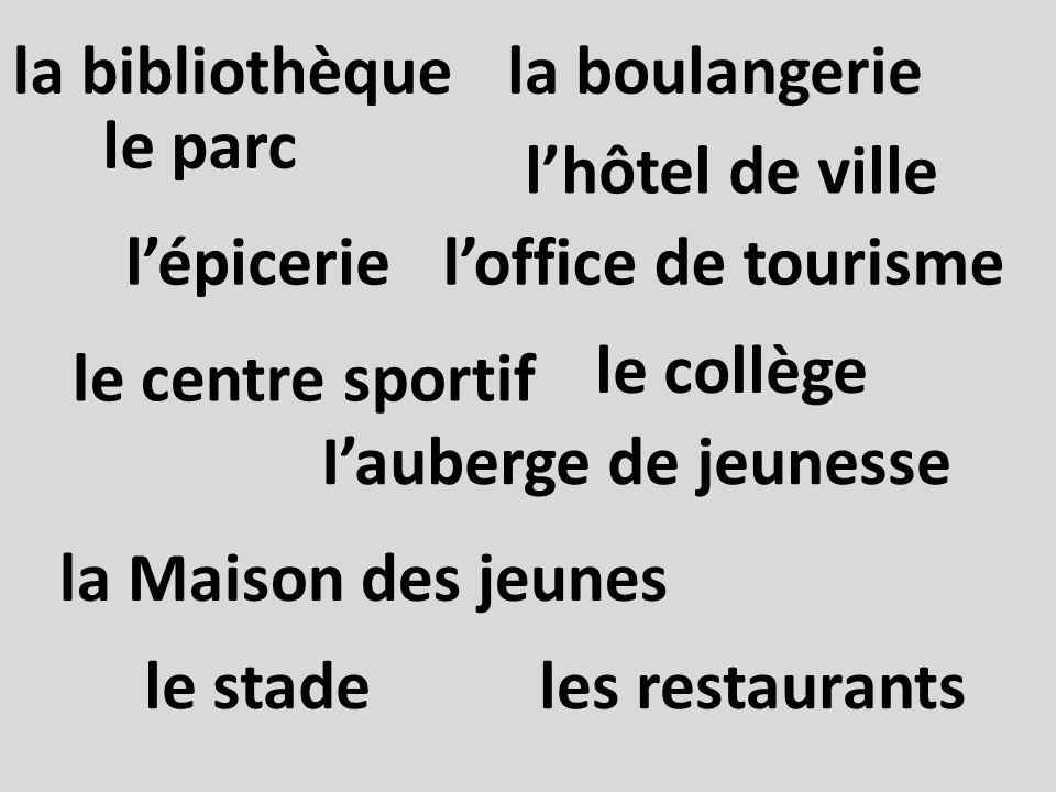 la boulangerie Iauberge de jeunesse le centre sportif lépicerie les restaurants la Maison des jeunes loffice de tourisme la bibliothèque le collège le