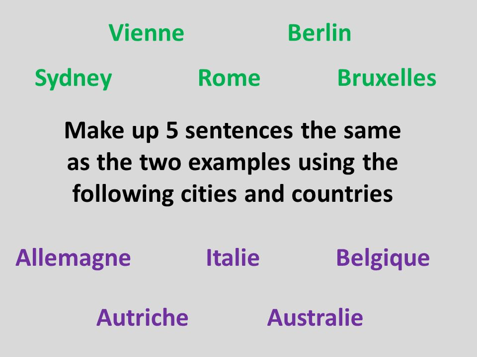 Dont forget how to say to a town/country Remember also how to say in the different categories of countries en because the countries are feminine – they end in the letter e au because the countries are masculine – they dont end in the letter e aux because these countries are plural – The United States The Netherlands