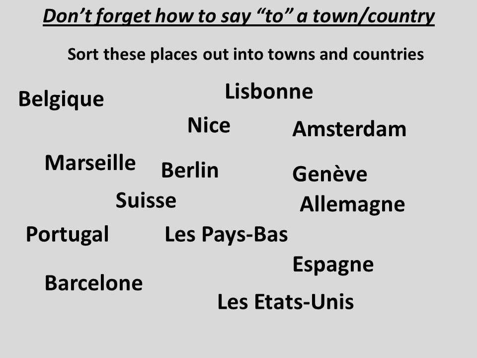 Dont forget how to say to a town/country Belgique Sort these places out into towns and countries Marseille Nice Barcelone Genève Les Etats-Unis Portugal Lisbonne Espagne Suisse Amsterdam Les Pays-Bas Berlin Allemagne