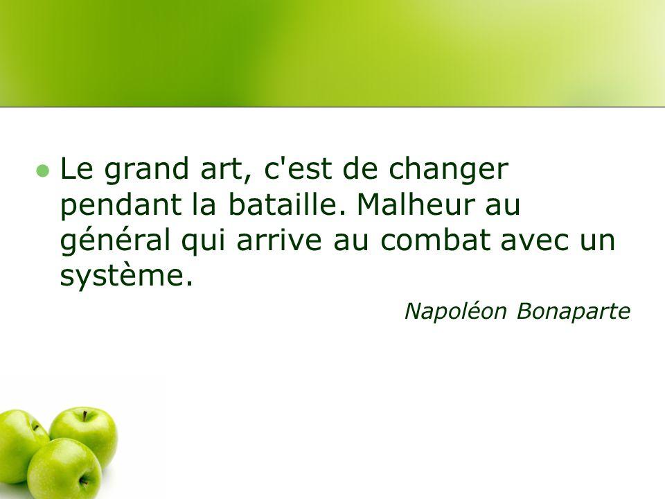 Le grand art, c est de changer pendant la bataille.