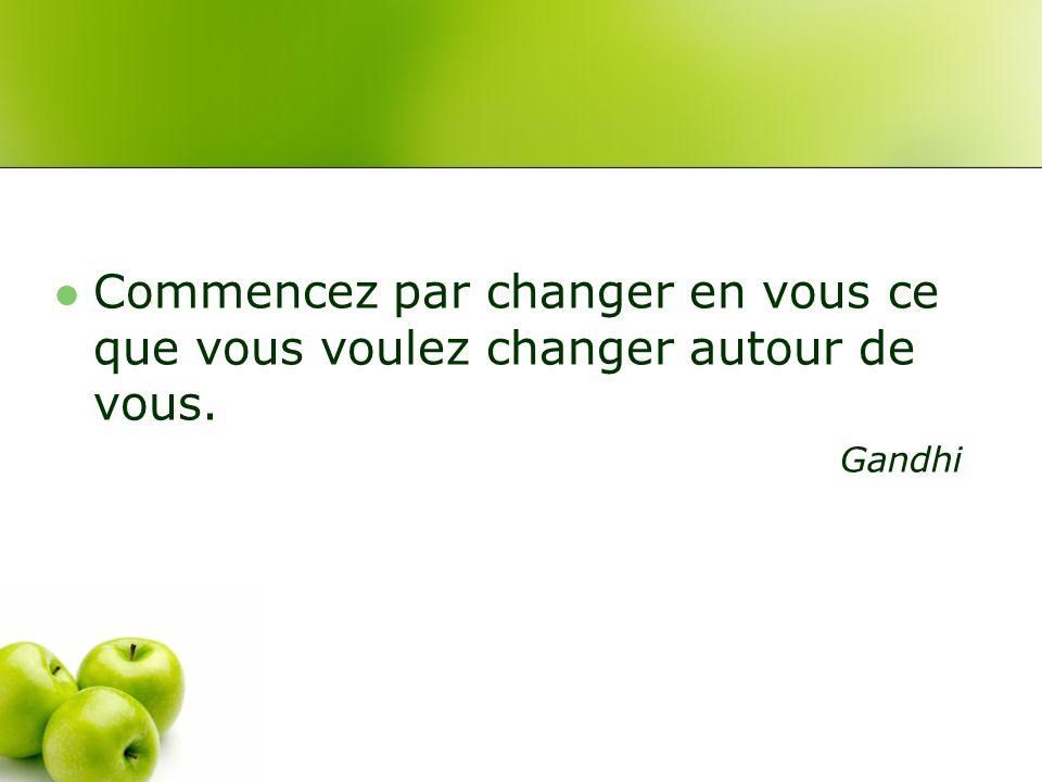 Commencez par changer en vous ce que vous voulez changer autour de vous. Gandhi
