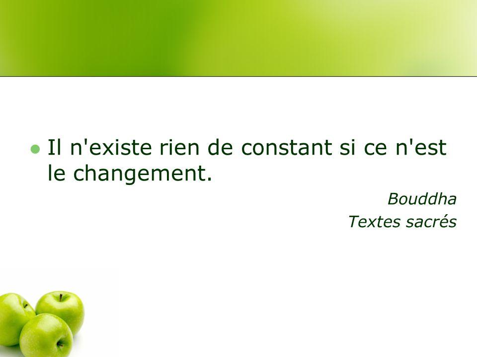 Il n existe rien de constant si ce n est le changement. Bouddha Textes sacrés
