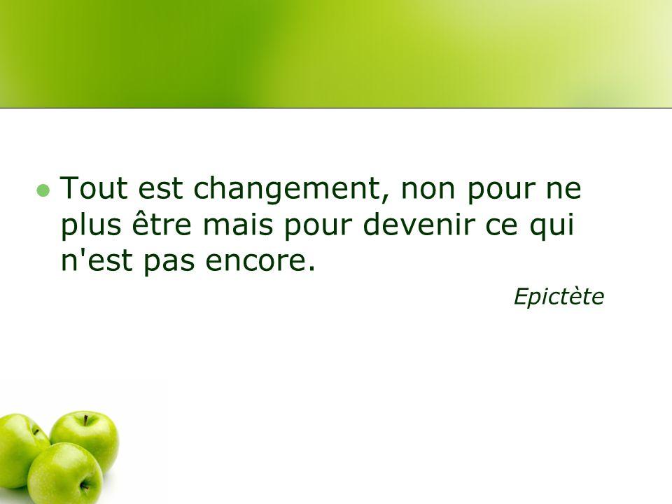 Tout est changement, non pour ne plus être mais pour devenir ce qui n est pas encore. Epictète