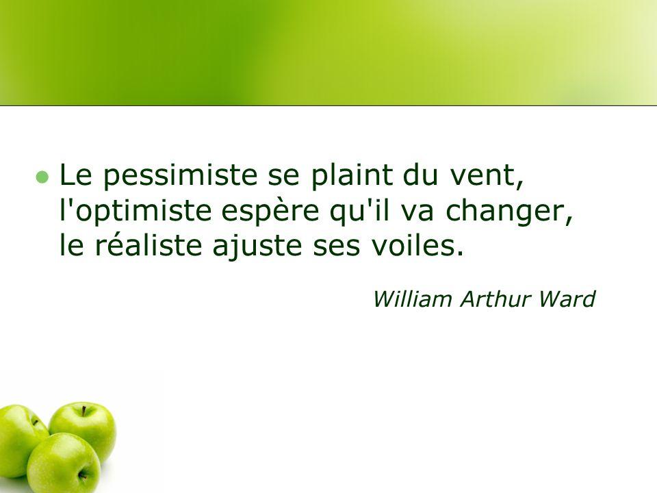 Le pessimiste se plaint du vent, l optimiste espère qu il va changer, le réaliste ajuste ses voiles.