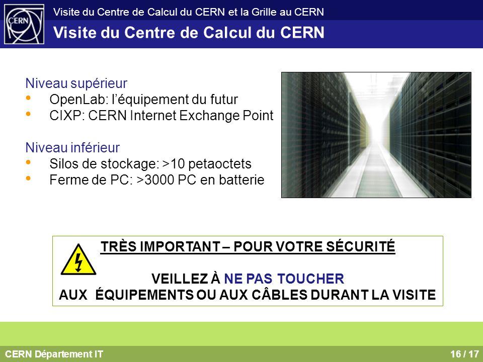 CERN Département IT16 / 17 Visite du Centre de Calcul du CERN et la Grille au CERN Visite du Centre de Calcul du CERN Niveau supérieur OpenLab: léquip