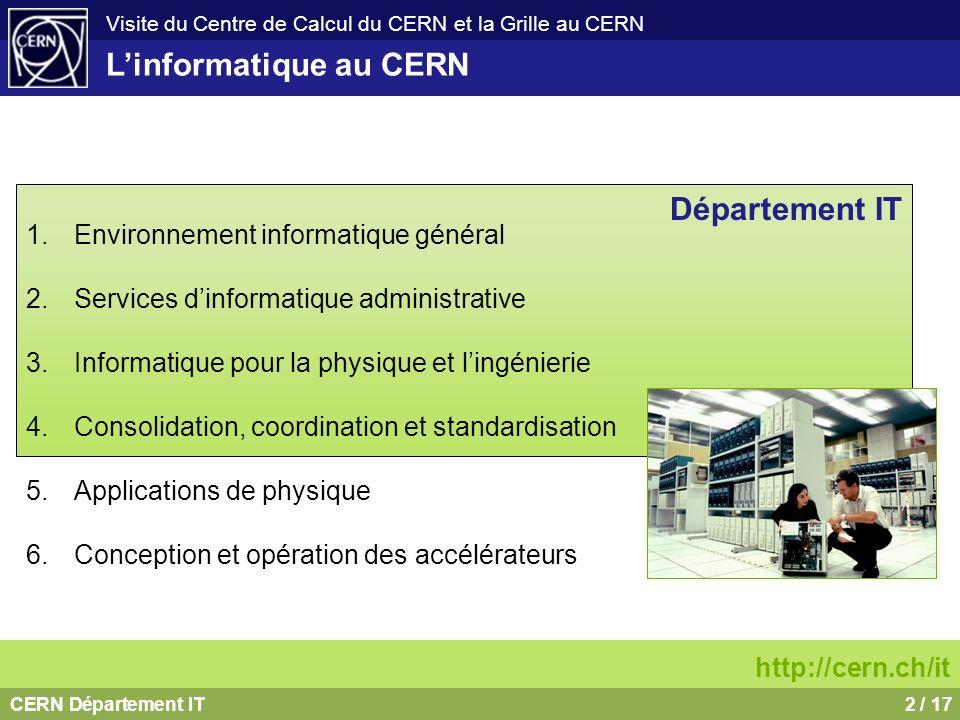 CERN Département IT13 / 17 Visite du Centre de Calcul du CERN et la Grille au CERN Calendrier 2002: début du projet 2003: service démarré (LCG-1 démarré en septembre avec 12 sites) 2004 lancement LCG-2 2002 - 2005: mise en place de linfrastructure 2006 – 2008: mise en place des services http://cern.ch/lcg En avril 2007: le plus grand projet de Grille au monde.