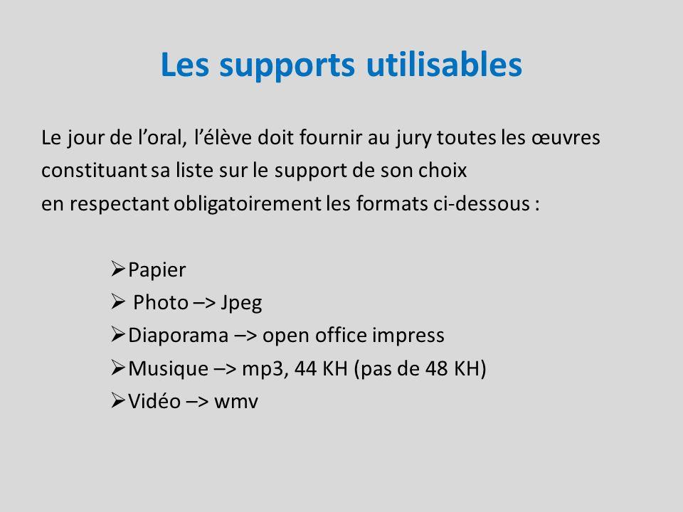 Les supports utilisables Le jour de loral, lélève doit fournir au jury toutes les œuvres constituant sa liste sur le support de son choix en respectan