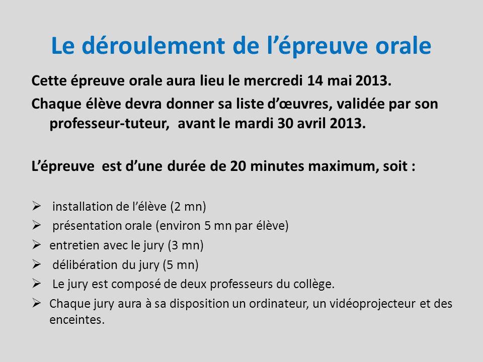 Le déroulement de lépreuve orale Cette épreuve orale aura lieu le mercredi 14 mai 2013. Chaque élève devra donner sa liste dœuvres, validée par son pr