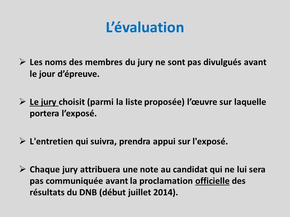 Lévaluation Les noms des membres du jury ne sont pas divulgués avant le jour dépreuve. Le jury choisit (parmi la liste proposée) lœuvre sur laquelle p
