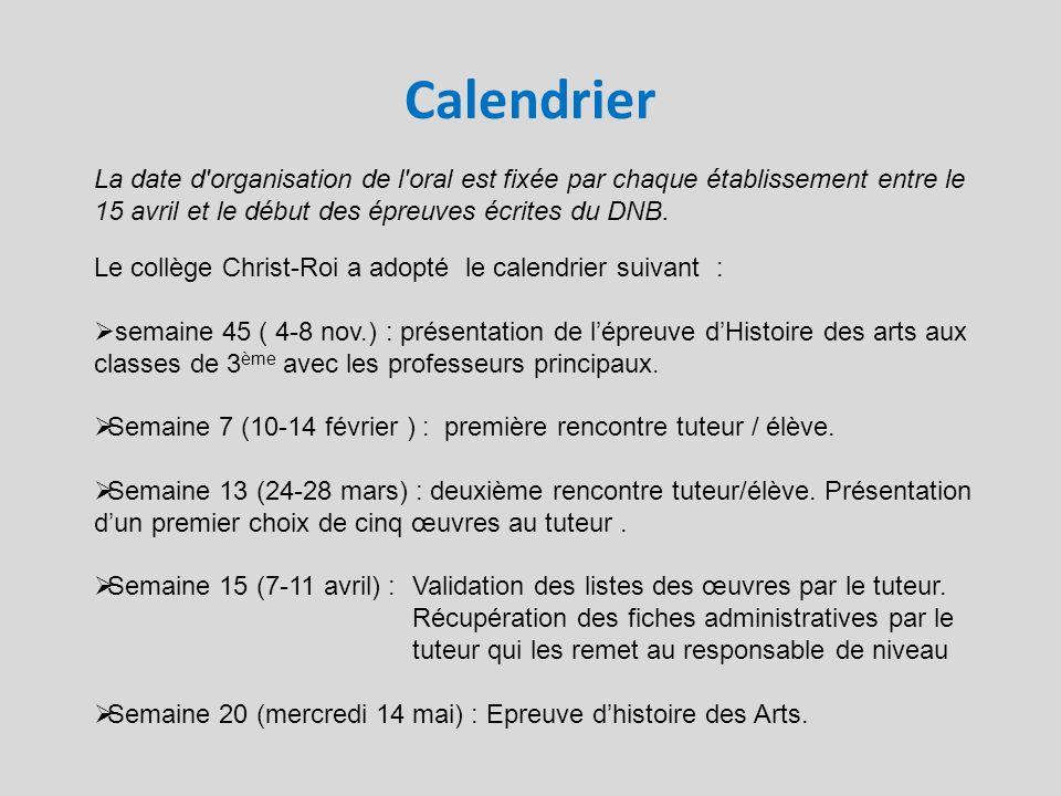Calendrier La date d'organisation de l'oral est fixée par chaque établissement entre le 15 avril et le début des épreuves écrites du DNB. Le collège C