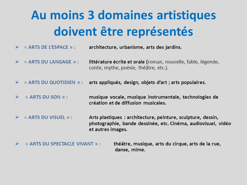 Au moins 3 domaines artistiques doivent être représentés « ARTS DE LESPACE » : architecture, urbanisme, arts des jardins. « ARTS DU LANGAGE » : littér