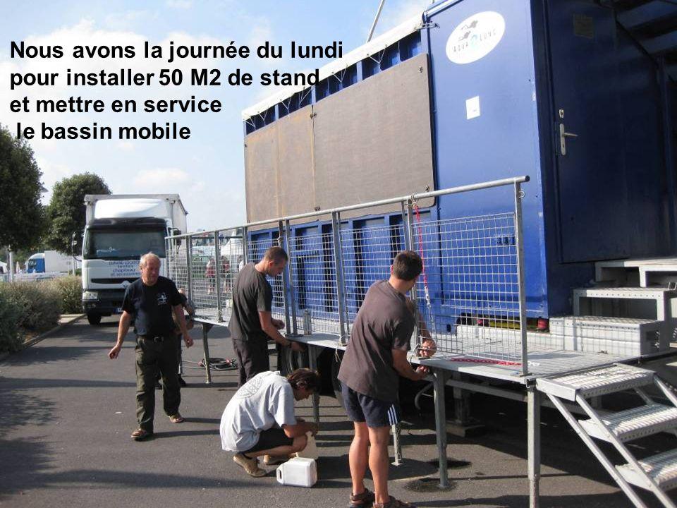Nous avons la journée du lundi pour installer 50 M2 de stand et mettre en service le bassin mobile