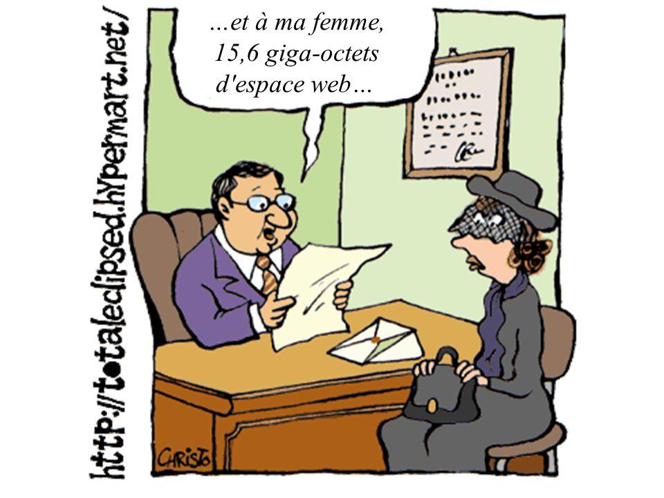 …et à ma femme, 15,6 giga-octets d'espace web…