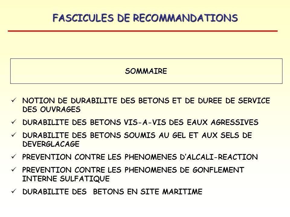 FASCICULES DE RECOMMANDATIONS NOTION DE DURABILITE DES BETONS ET DE DUREE DE SERVICE DES OUVRAGES DURABILITE DES BETONS VIS-A-VIS DES EAUX AGRESSIVES