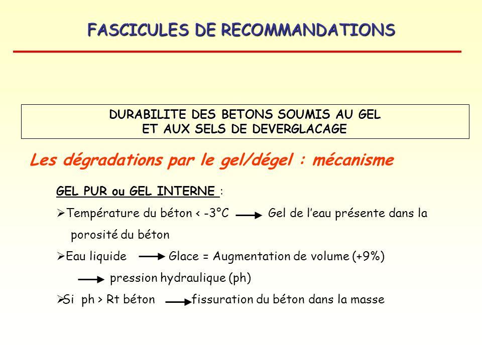 FASCICULES DE RECOMMANDATIONS DURABILITE DES BETONS SOUMIS AU GEL ET AUX SELS DE DEVERGLACAGE Les dégradations par le gel/dégel : mécanisme GEL PUR ou