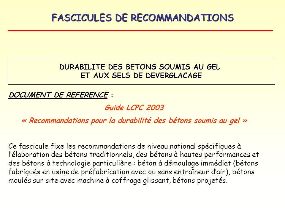 FASCICULES DE RECOMMANDATIONS DURABILITE DES BETONS SOUMIS AU GEL ET AUX SELS DE DEVERGLACAGE DOCUMENT DE REFERENCE : Guide LCPC 2003 « Recommandation