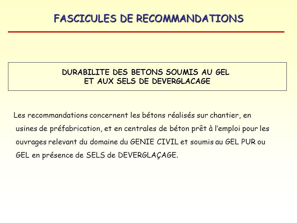 FASCICULES DE RECOMMANDATIONS Les recommandations concernent les bétons réalisés sur chantier, en usines de préfabrication, et en centrales de béton p
