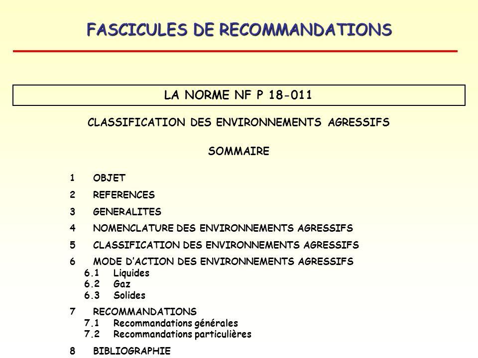 FASCICULES DE RECOMMANDATIONS LA NORME NF P 18-011 CLASSIFICATION DES ENVIRONNEMENTS AGRESSIFS SOMMAIRE 1 OBJET 2REFERENCES 3 GENERALITES 4NOMENCLATUR