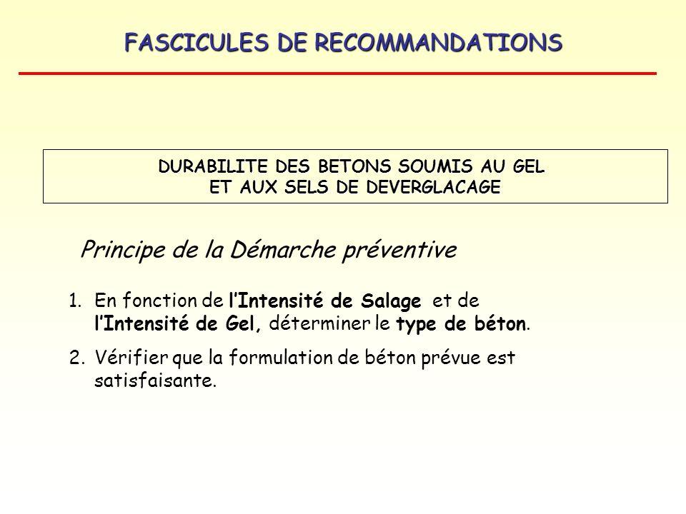 FASCICULES DE RECOMMANDATIONS Principe de la Démarche préventive 1.En fonction de lIntensité de Salage et de lIntensité de Gel, déterminer le type de