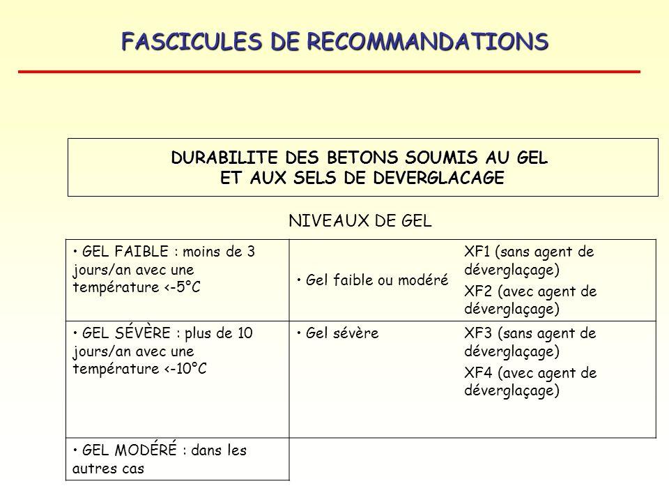FASCICULES DE RECOMMANDATIONS NIVEAUX DE GEL GEL FAIBLE : moins de 3 jours/an avec une température <-5°C Gel faible ou modéré XF1 (sans agent de déver