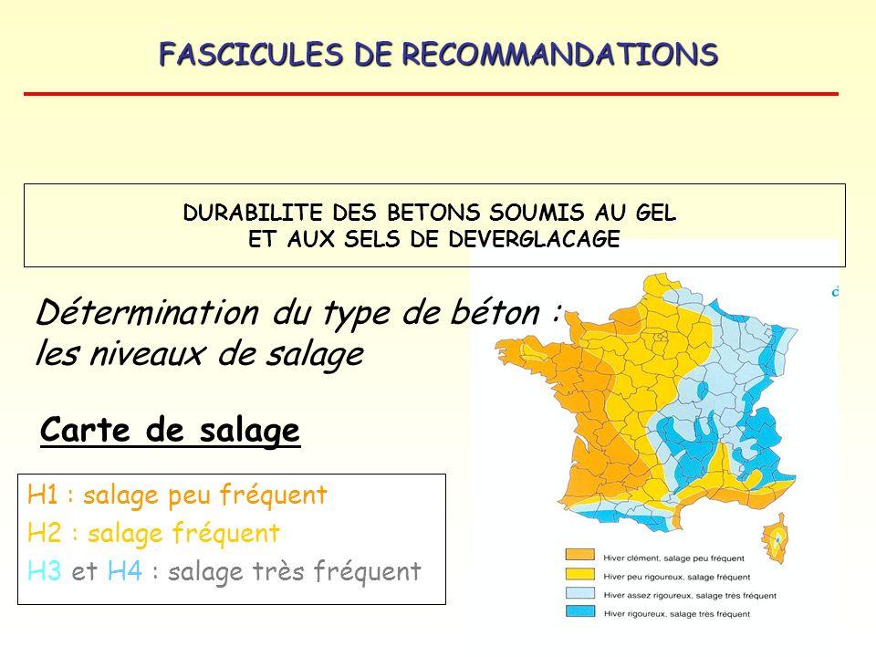 FASCICULES DE RECOMMANDATIONS H1 : salage peu fréquent H2 : salage fréquent H3 et H4 : salage très fréquent Carte de salage Détermination du type de b