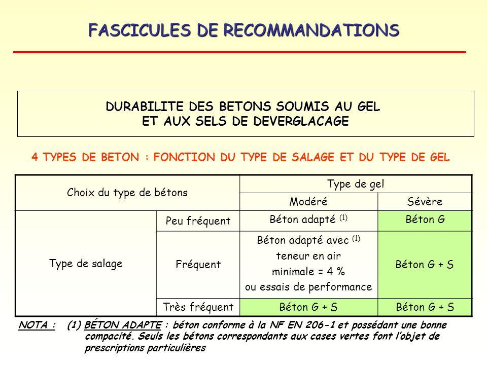 FASCICULES DE RECOMMANDATIONS Choix du type de bétons Type de gel ModéréSévère Type de salage Peu fréquent Béton adapté (1) Béton G Fréquent Béton ada