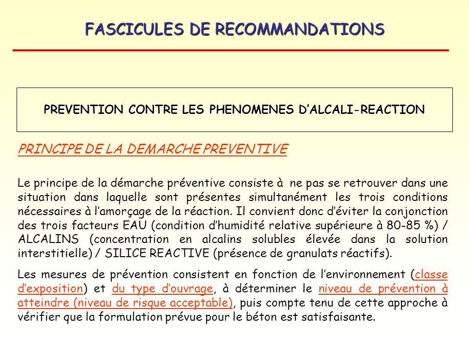 FASCICULES DE RECOMMANDATIONS PREVENTION CONTRE LES PHENOMENES DALCALI-REACTION PRINCIPE DE LA DEMARCHE PREVENTIVE Le principe de la démarche préventi
