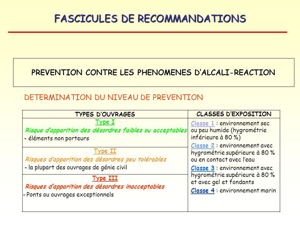 FASCICULES DE RECOMMANDATIONS TYPES DOUVRAGES CLASSES DEXPOSITION Type I Risque dapparition des désordres faibles ou acceptables - éléments non porteu