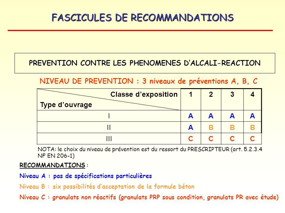 FASCICULES DE RECOMMANDATIONS Classe dexposition Type douvrage 1234 IAAAA IIABBB IIICCCC RECOMMANDATIONS : Niveau A : pas de spécifications particuliè