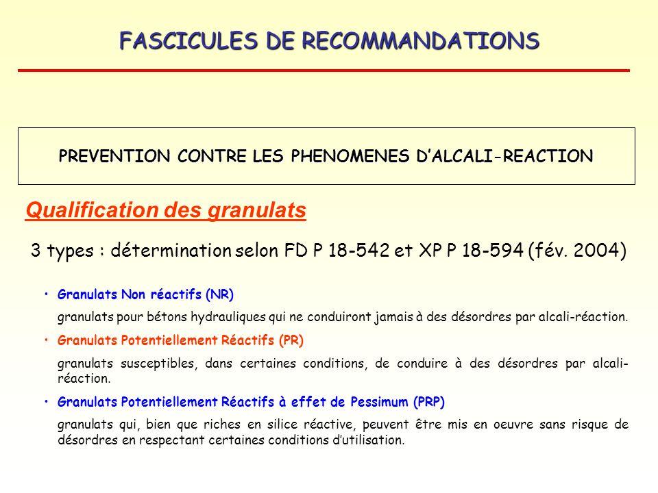 FASCICULES DE RECOMMANDATIONS Qualification des granulats 3 types : détermination selon FD P 18-542 et XP P 18-594 (fév. 2004) Granulats Non réactifs