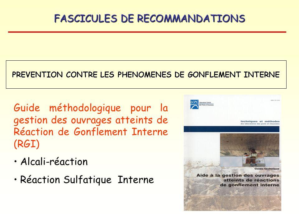FASCICULES DE RECOMMANDATIONS Guide méthodologique pour la gestion des ouvrages atteints de Réaction de Gonflement Interne (RGI) Alcali-réaction Réact
