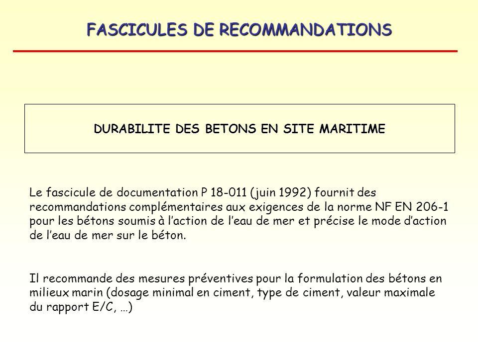 FASCICULES DE RECOMMANDATIONS DURABILITE DES BETONS EN SITE MARITIME Le fascicule de documentation P 18-011 (juin 1992) fournit des recommandations co