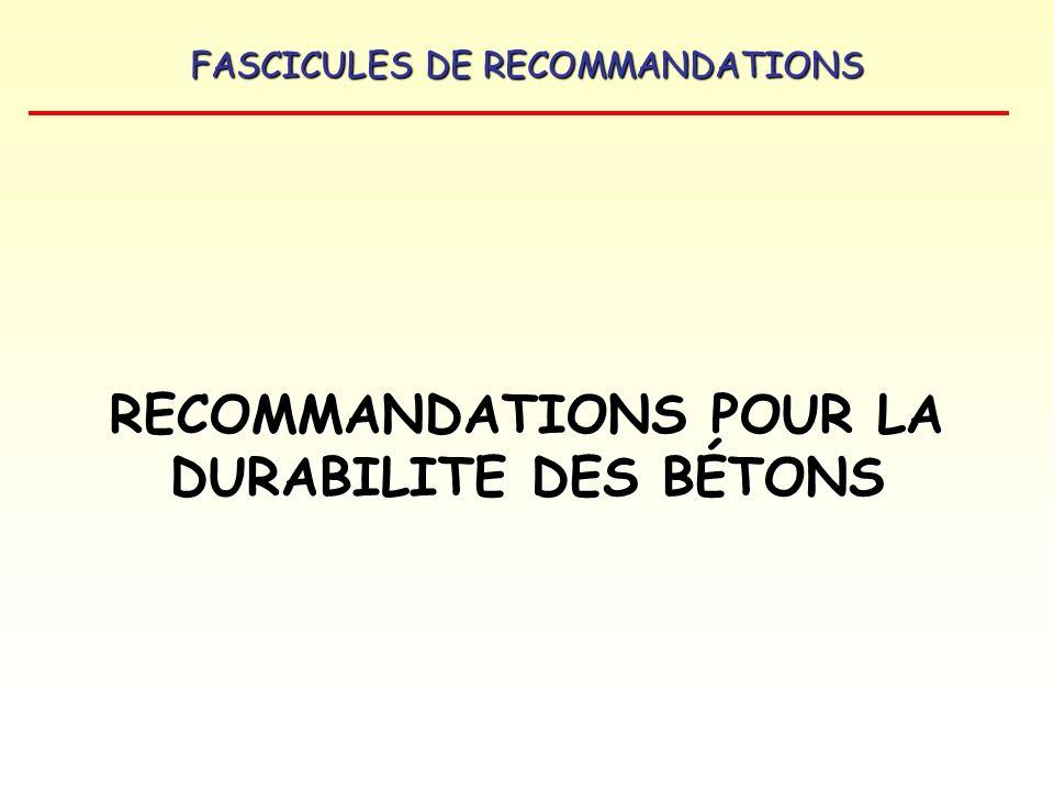 FASCICULES DE RECOMMANDATIONS Béton G : caractéristiques exigées –Rapport E/C < 0,5 –Résistance à la compression fc 28 30 MPa –Facteur despacement du réseau de bulles dair (norme ASTM C 457) inférieur ou égal à 250 μm (étude et convenance).