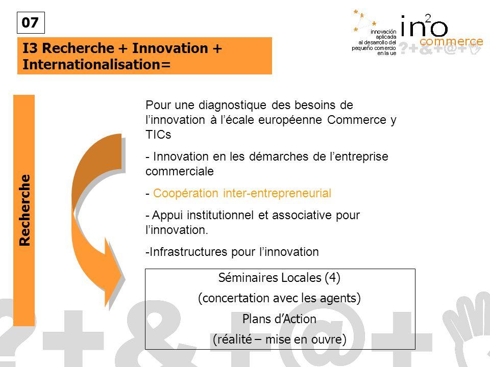 I3 Recherche + Innovation + Internationalisation= 07 Pour une diagnostique des besoins de linnovation à lécale européenne Commerce y TICs - Innovation en les démarches de lentreprise commerciale - Coopération inter-entrepreneurial - Appui institutionnel et associative pour linnovation.