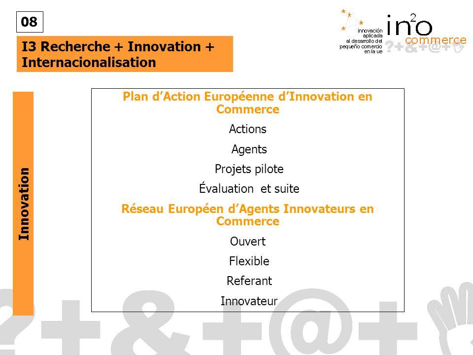 I3 Recherche + Innovation + Internacionalisation 08 Plan dAction Européenne dInnovation en Commerce Actions Agents Projets pilote Évaluation et suite Réseau Européen dAgents Innovateurs en Commerce Ouvert Flexible Referant Innovateur Innovation