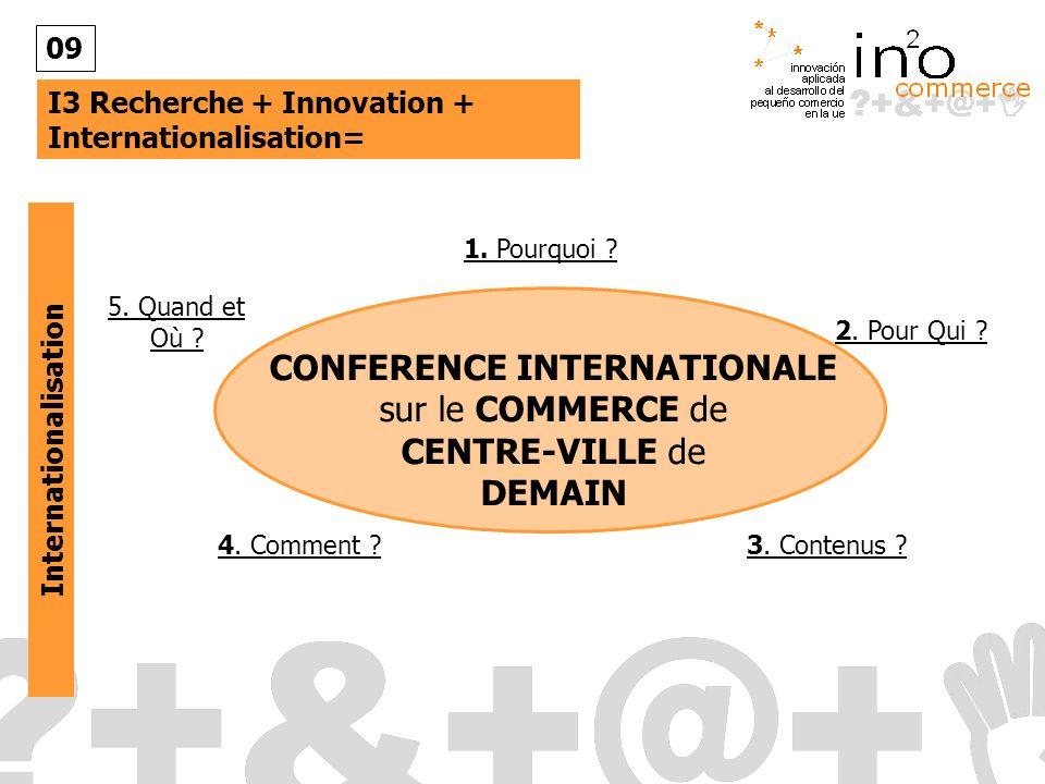 I3 Recherche + Innovation + Internationalisation= 09 Internationalisation CONFERENCE INTERNATIONALE sur le COMMERCE de CENTRE-VILLE de DEMAIN 1.