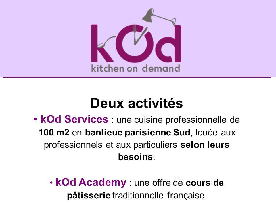 Deux activités kOd Services : une cuisine professionnelle de 100 m2 en banlieue parisienne Sud, louée aux professionnels et aux particuliers selon leu