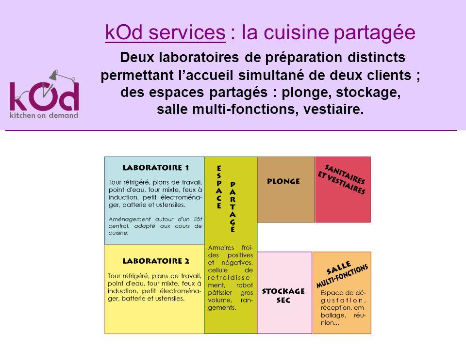 kOd services : la cuisine partagée Deux laboratoires de préparation distincts permettant laccueil simultané de deux clients ; des espaces partagés : p