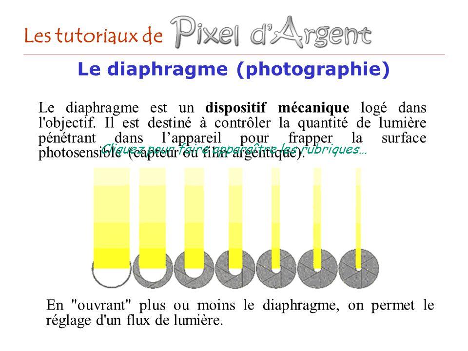 Les tutoriaux de Le diaphragme est un dispositif mécanique logé dans l'objectif. Il est destiné à contrôler la quantité de lumière pénétrant dans lapp